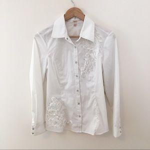 NWT Reba White Detailed Snap Up Shirt